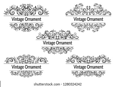 Set Abstract Floral Vintage Patterns, Black and Grey Contours Isolated on White Background.