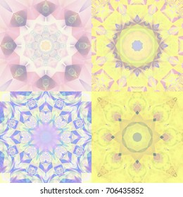 Set of abstract illustrations vintage kaleidoscope mandala seamless. Bright flowers.