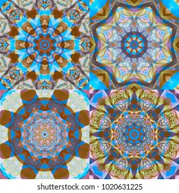 Set of abstract kaleidoscope colorful backgrounds. Beautiful illustrations seamless. Bright flowers.