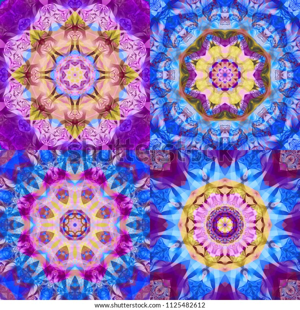 Set of abstract kaleidoscope colorful backgrounds. Bright flowers. Illustration seamless pattern for design.