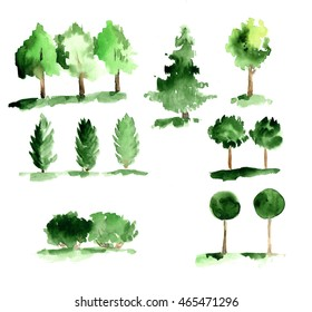 Set of abstract trees with green leaves on a white background.