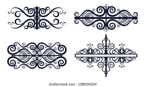 Set Abstract Vintage Patterns, Black Contours Isolated on White Background.