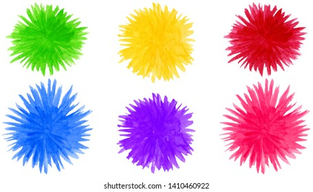 Set of abstract watercolor pompon shapes background. Round colorful flower elements isolated on white