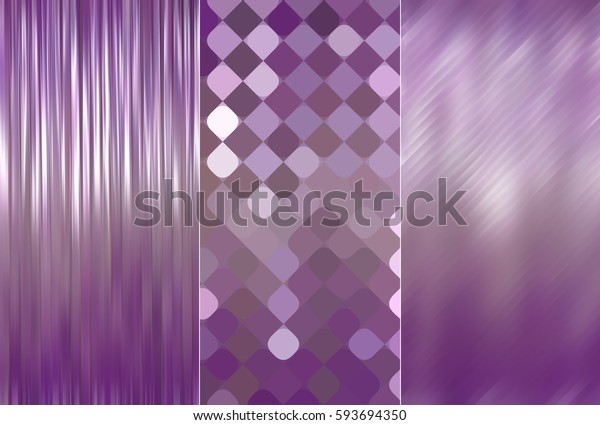 Set of abstractions picture. Three background violet.