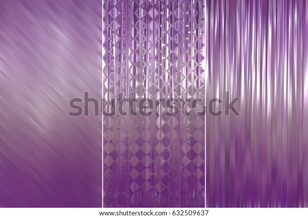 Set of abstractions picture. Three background violet illustration.