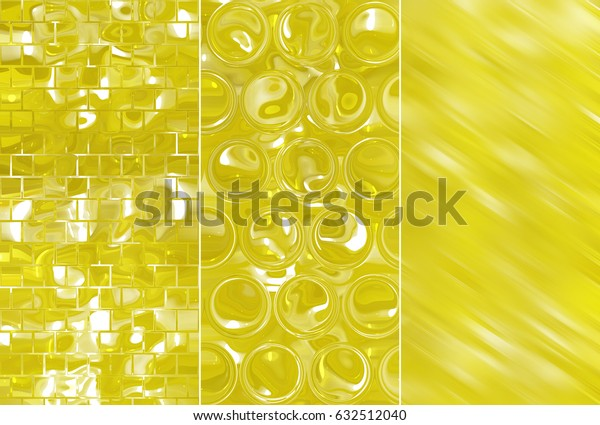 Set of abstractions picture. Three background gold.