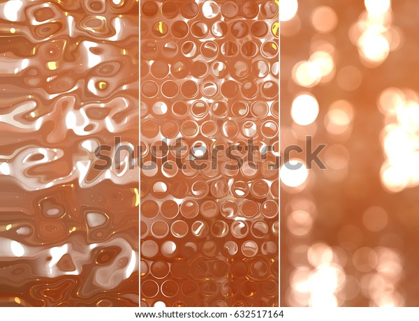Set of abstractions picture. Three background orange illustration.