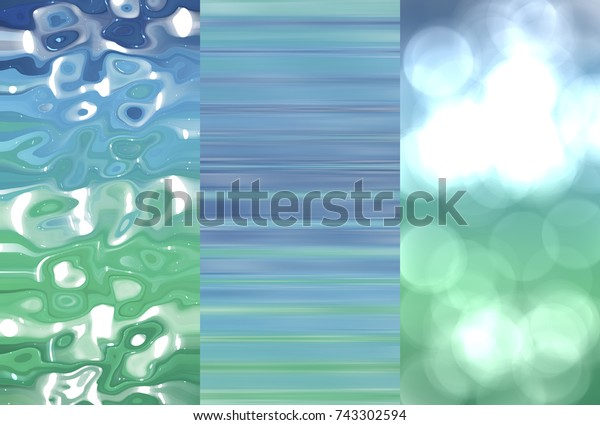 Set of abstractions picture. Three background blue and green illustration.