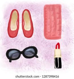 Set of accessoires. Black sunglasses, red lipstick, red ballets,coral clutch. Light violet background. Raster illustration.