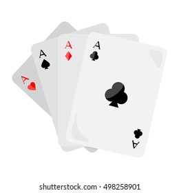 Set of  ace playing cards isolated. Four aces of diamonds spades hearts and clubs. Poker playing cards. Gambling luck, fortune and bet, risk and leisure, jackpot chances. Flat style design