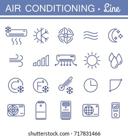 Set of air conditioning  icons for your design. Air conditioner and air compressor images. Collection of linear colling icons. Thin icons for print, web, mobile apps design. Editable stroke.
