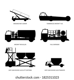Set of aircraft ground support equipment icons: bagagge belt loader, towbarless tug, fuel bowser, fuel dispenser, ULD elevator, ULD transfer