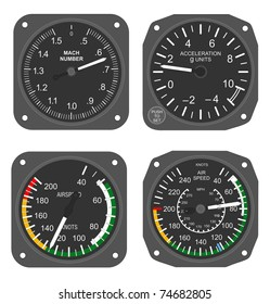 Set of aircraft instruments - airspeed indicators, Mach number indicator and accelerometer.