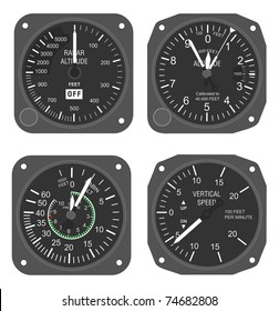 Set of aircraft instruments - two altimeters and two vertical speed indicators
