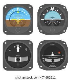 Set of aircraft instruments - two attitude indicators and two turn & bank coordinators.