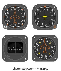 Set of aircraft instruments - two compasses and two heading indicators (directional gyro)