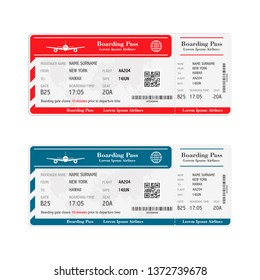 Set of the airline boarding pass tickets isolated on white background. illustration