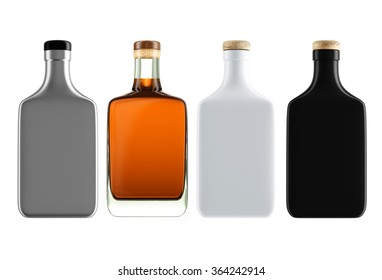 Set of alcohol bottles with a wooden stopper isolated on white background. Tincture, balsam, whiskey, cognac, brandy, vodka. 3D Mock up for you design.