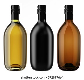 Set of alcohol glass and ceramic bottles with a screw cap isolated on white background. Tincture, whiskey, cognac, brandy, wine, cosmetics, medicine, syrup, oil, beer, cider. 3D Mock up for you design