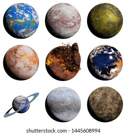 set of alien planets isolated on white background, nearby exoplanets (3d science illustration)
