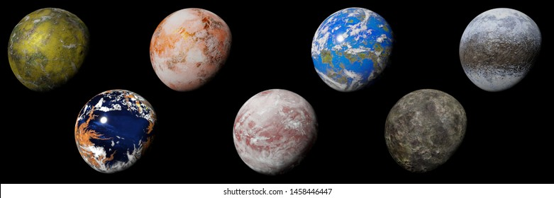 set of alien planets isolated on black background, nearby exoplanets (3d science illustration banner)