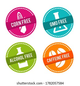 Set of Allergen free Badges. Corn, GMO, Alcohol, Caffeine free. Can be used for packaging Design.