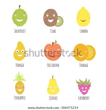 set of alphabet fruits and berries letters letter j k l m