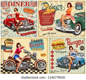 Set of American Diner vintage poster.