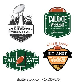Set of American football tailgate party labels, badges and design elements