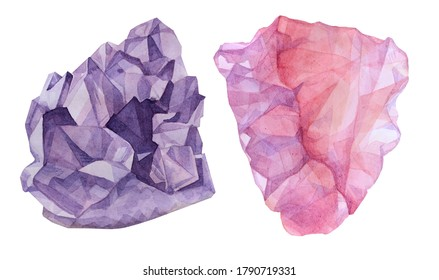 Set amethyst and rose quartz mineral watercolor drawing isolated on white. A precious stone. Art creative purple object for sticker, postcard, packaging, background wallpaper