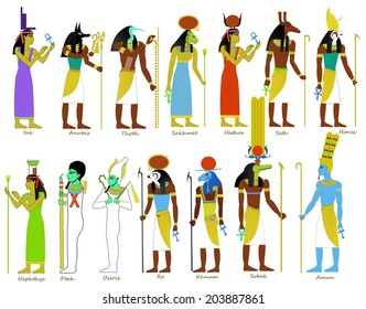A set of Ancient Egyptian gods and goddesses illustrations