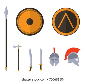Set of ancient greek spartan weapon and protective equipment. Spear, sword, gladius, shield, axe, helmet. Warrior outfit. Raster version.