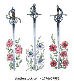 Set of antique swords with patterned hilts. Watercolor illustration. Hand-painted. Three swords wrapped in flowers isolated on a white background.