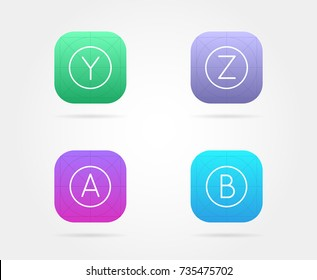 app icon template guidelines raster fresh stock illustration