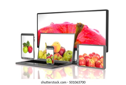 Set of apples on the screen of computer gadgets on white background (3d illustration).