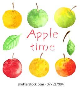 Set apples. Watercolor food. Fruit.