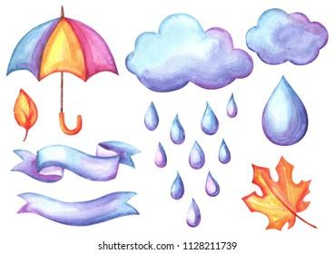 Set of aquarelle umbrella, clouds and rain. Watercolor decorative autumn elements.