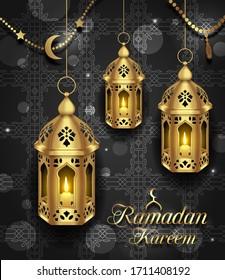 Set Arabic Lamps with Light for Ramadan Kareem - Illustration raster