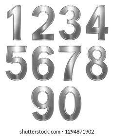 Set of arabic numbers from metal, isolated on white background, 3d illustration