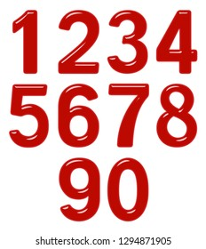 Set of arabic numbers from red plastic or glass, isolated on white background, 3d illustration