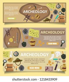 set of archaeology banners web templates with archaeological site, ancient artifacts, archaeological tools, copy space, read more button.