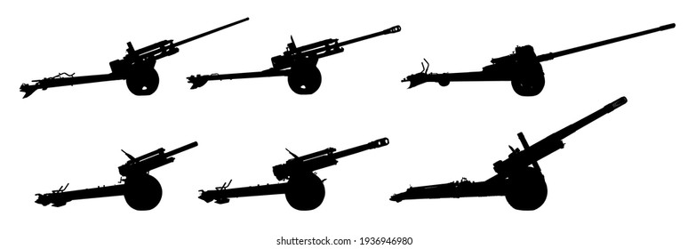Set of artillery silhouettes. Military weapons during the Great Patriotic War. Retro weapons. Military equipment. Artillery cannons. Isolated over white background.