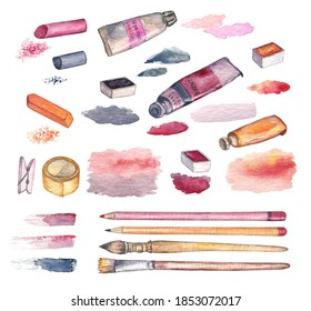 Set of the artist materials on a white isolated background. The collection includes the watercolor paints in tubes and pans, brushes, pencils, paint stokes, pastel chalks. Cute elements for design.
