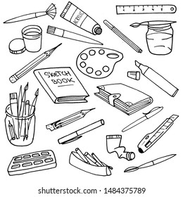 Set with artist's tools sketches. Simple, graphic and cute. Useful for different designs: textiles, book covers, stickers or maybe icons.