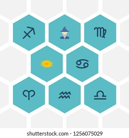 Set of astrology icons flat style symbols with libra, cancer, aries and other icons for your web mobile app logo design.