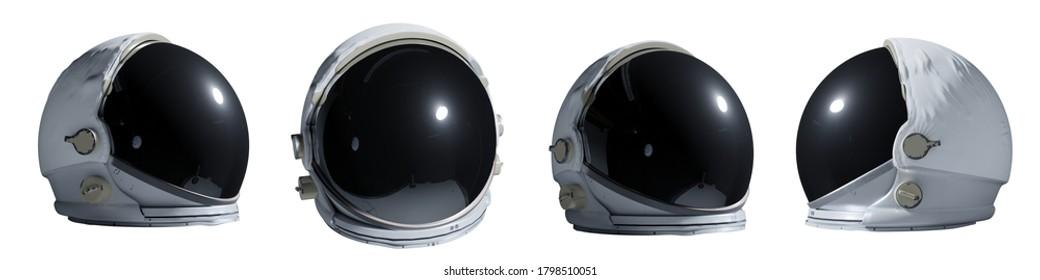 Satz von Astronautenhelmen einzeln auf weißem Hintergrund (3D-Rendering-Banner)