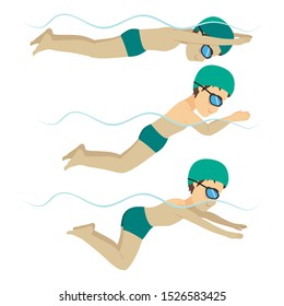 Set with athlete man swimming breaststroke stroke on various different poses training