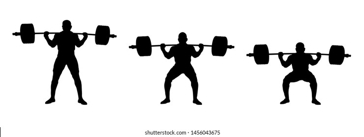 set athlete powerlifter exercise powerlifting: stand, half squat, squat