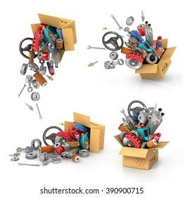 Set it auto parts in the cardboard boxes. Automotive basket shop. Auto parts store. Flying autoparts.
