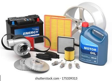 Set of auto parts isolated on white background